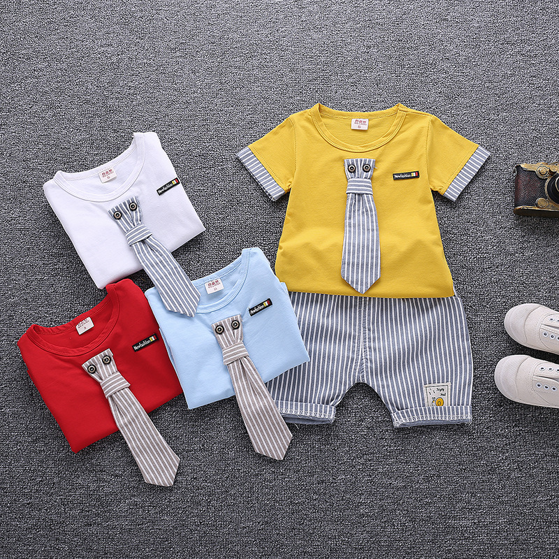 2018 New Summer Baby Boy Kids Clothes Set Children Clothing Suit Tops Tie Short-sleeved T-shirt Pants 2pcs Sport Infant Clothing 2017 brand summer boy sport print a clothing set short sleeve t shirt short pants summer boy school fashion clothes set