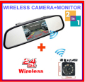 "2 IN 1 Wireless Auto Parking Rearview backup Camera.4.3""LCD TFT Color mirror monitor 2ch av in DVD VCR + 2.4g wireless camera"