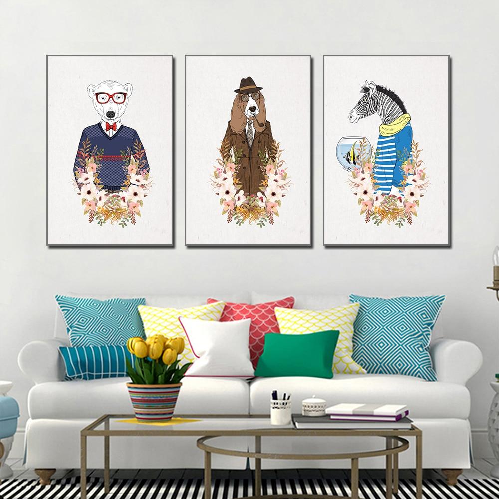 Unframed HD 3 art paintings Creative animal head portrait decorative painting Cartoon dog living room inkjet mural