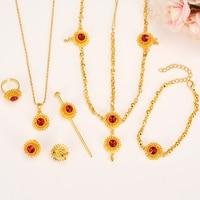Bangrui 2017 Ethiopian Jewelry Sets With Hair Pcs 24k Gold Plated Stone Jewelry Sets For Ethiopian