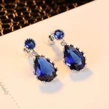 Классические висячие серьги с голубым цирконием золотые женские