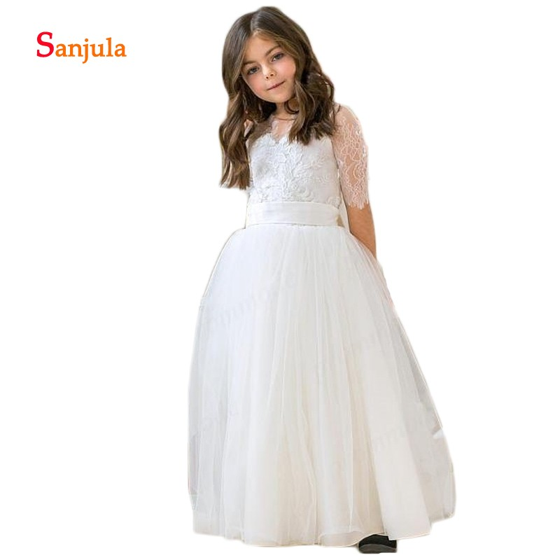 Half Lace Sleeve Ivory Tulle   Flower     Girls     Dresses   V Neck Appliques Ball Gown Puffy Wedding Party   Dresses   Backless Communion D201