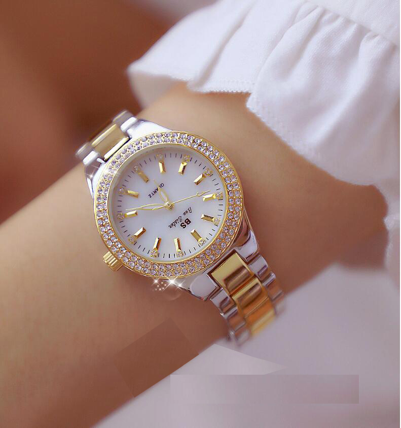 2019 Luxury Brand Lady Shell Dial Crystal Watch Women Dress Watch  Gold Quartz Watches Female Stainless Steel Wristwatches
