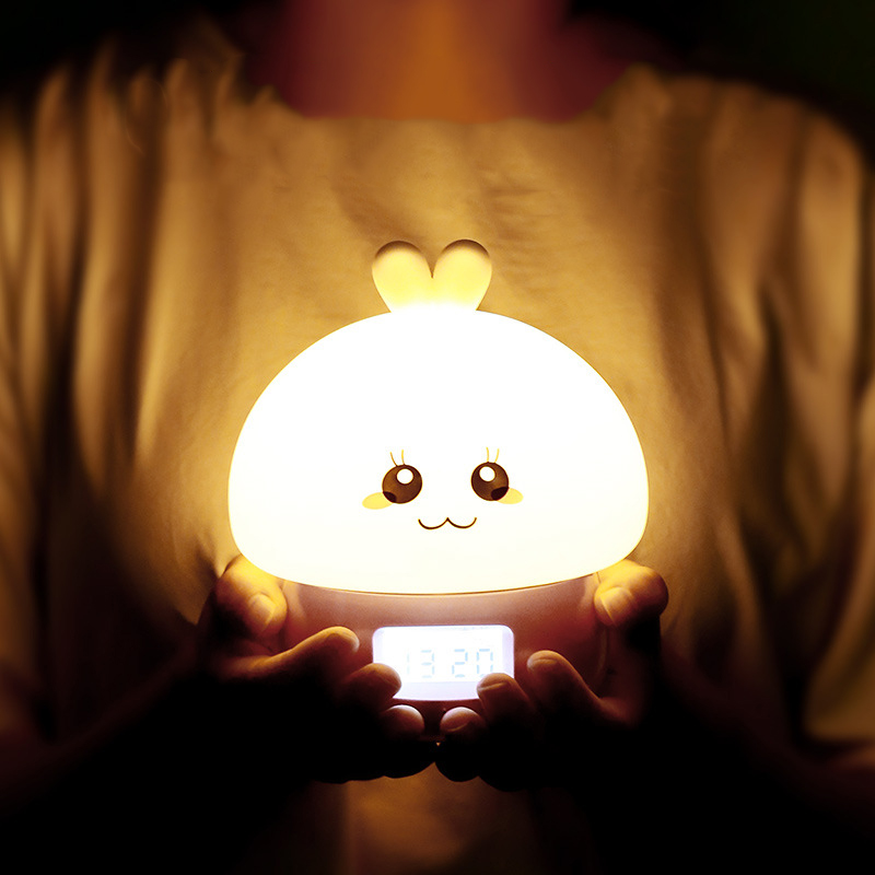 Recordable Colorful Rabbit night light Alarm Clock Voice activated led digital clock Intelligent USB Charging Small Night Light