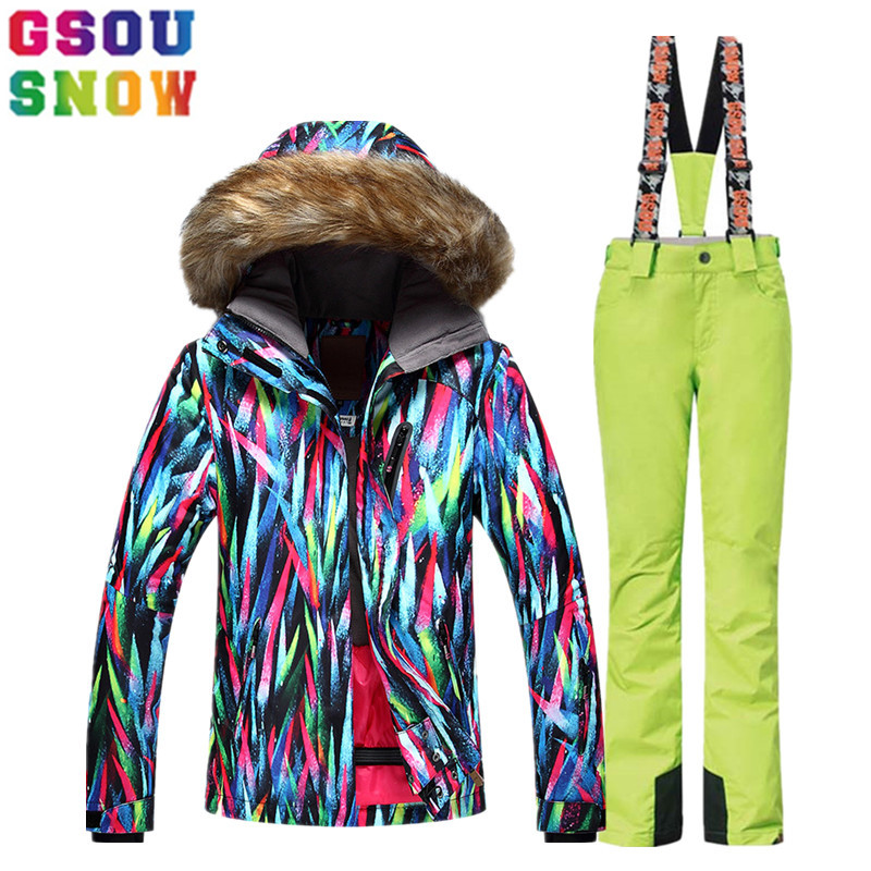 GSOU SNOW Ski Suit Women Ski Jacket Pants Fur Hooded Winter Waterproof Skiing Suit Ladies Snowboard Jacket Pants Sport Clothing freestyle skiing ladies aerial qualification pyeongchang 2018 winter olympics