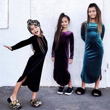 Sweet Ins Hot Sell Cute Girls Velvet Ruffles Dress Spring Autumn Candy Color Fashion Children Dresses