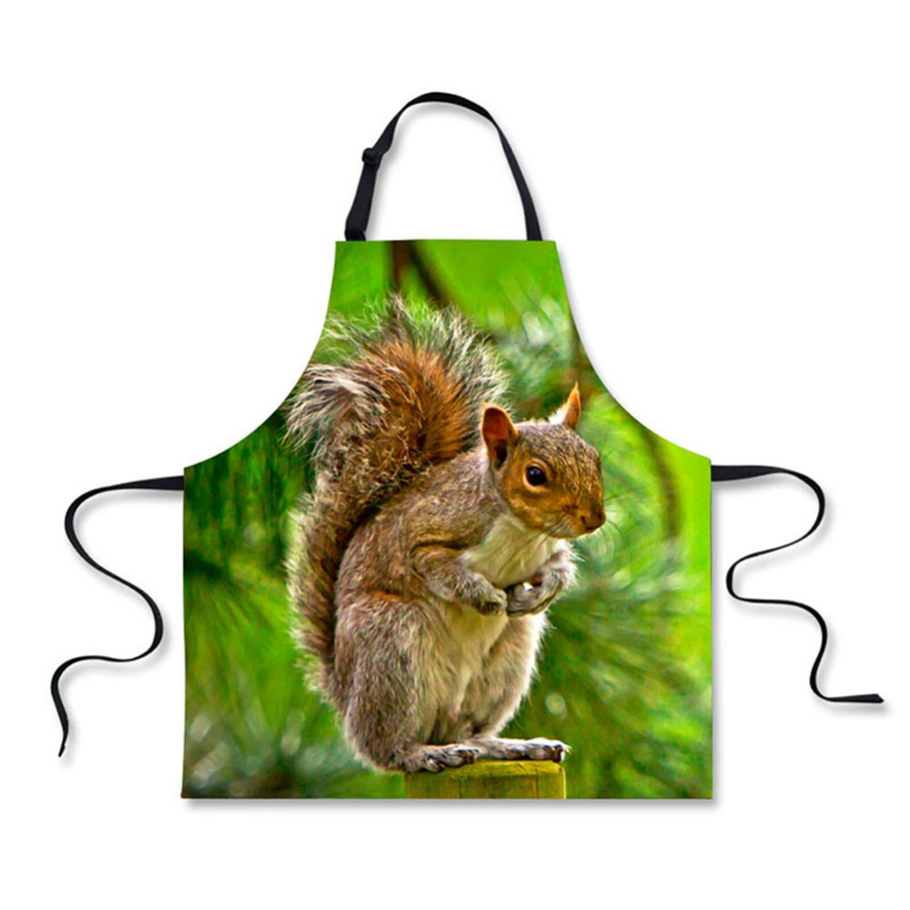 High Quality Cute Animal Squirrels Pattern Printing Home Leisure Fashion Kitchen Aprons Luggage & Bags