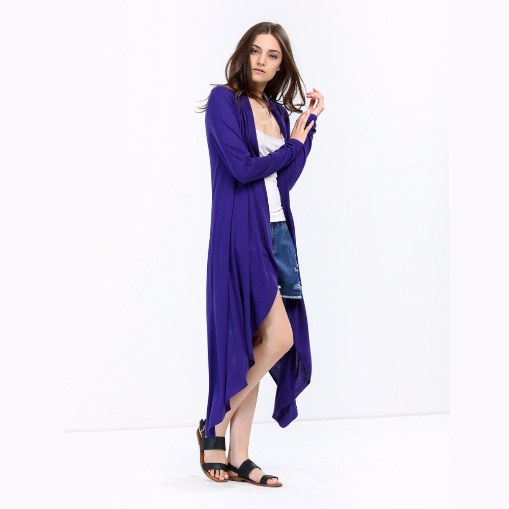 2017 Autumn Women Long Sleeve Open Front Long Maxi Cardigan ...