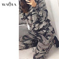 Fashion Spring Autumn Long Sleeve Camouflage Suit Womens Tracksuits Uniform Women's Set 2 Colors Size S-XL