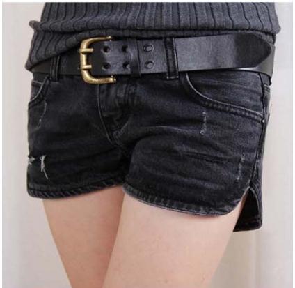 Newst Womens Summer Low Waist Denim Shorts Loose S/2Xl Ripped Jeans Shorts Casual Sexy Punk Rivet Hole Mini Jeans Shorts  J2307