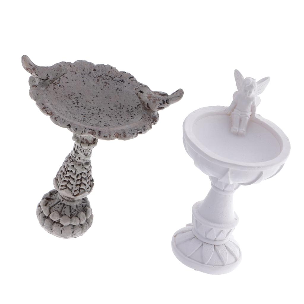 2pcs 1//12 Scale Miniature Dollhouse Garden Resin Bird Bath Fountain Decor