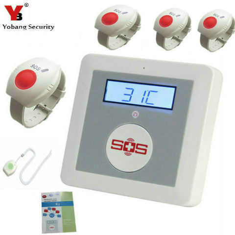 YobangSecurity Wireless GSM SMS Senior Telecare Home Security Alarm System SOS Button With Neck Wrist Emergency Panic Button 2 receivers 60 buzzers wireless restaurant buzzer caller table call calling button waiter pager system