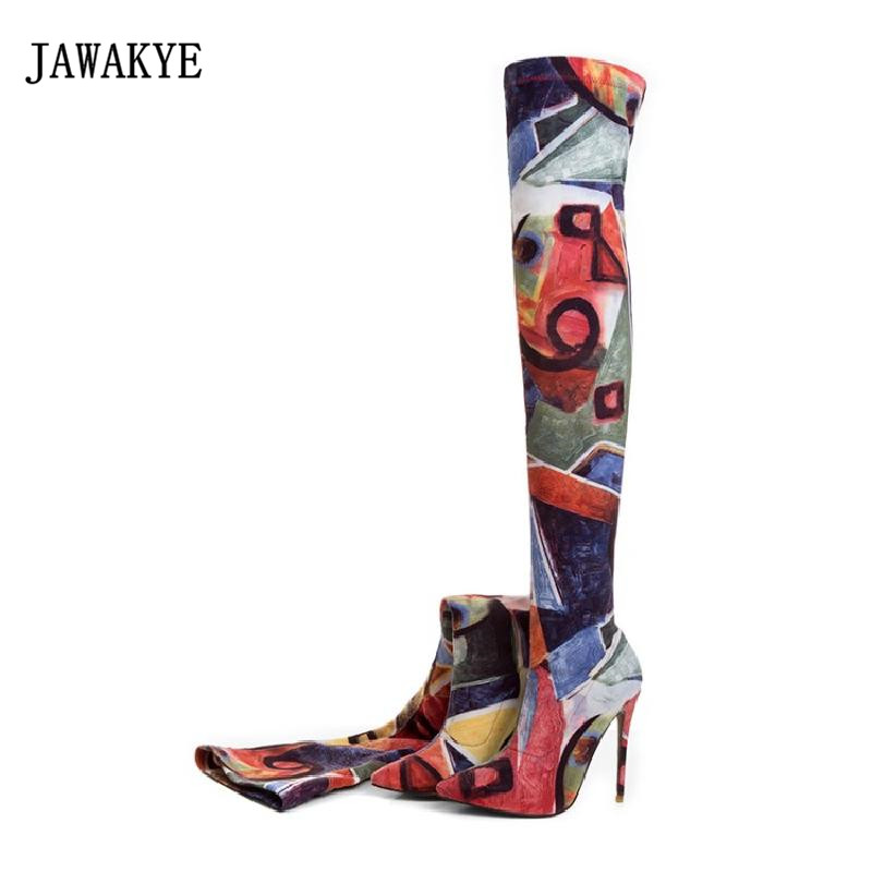 2017 Winter Sock Boots Woman Pointed Toe 12CM High Heel Long Boots Women Mixed Color Stretch Over The Knee Boots