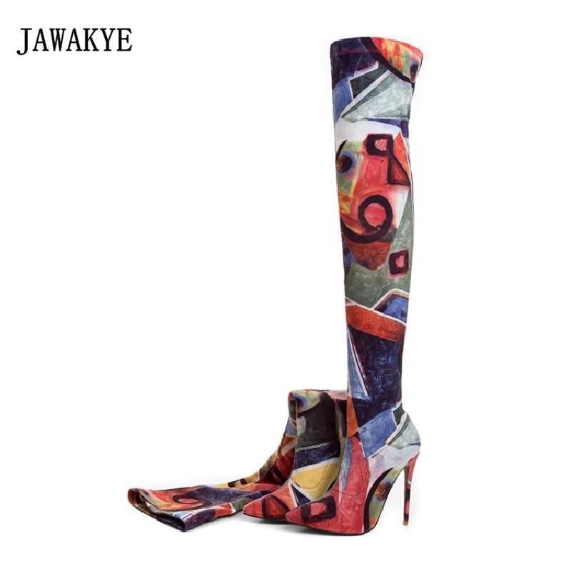 2017 botas de calcetín de Invierno para mujer con punta puntiaguda 12 CM botas largas de tacón alto para mujer Color mixto estiramiento sobre la rodilla botas-in Botas sobre la rodilla from zapatos    1