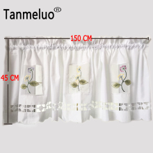 Korean pastoral style floral embroidery lace half-curtain bay window curtain tulle for coffee kitchen room door