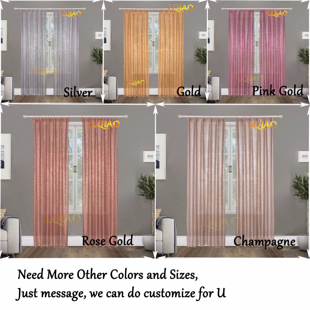 Lqiao Sequin Curtain Backdrop 60x250cm Shimmer Rose Gold