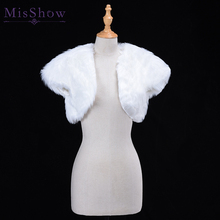 White Wedding Bolero Faux Fur Bridal Wedding Wrap Jacket Winter Evening Party Short Sleeve Shrug Bolero Coat Women's Accessory blue flower girl faux fur cape child kid winter jacket hooded wrap bolero with hand muff evening prom coat outwear cloaks