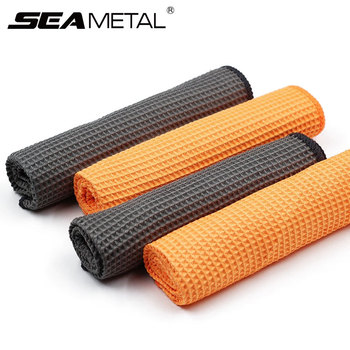 2PC Car Wash Towel Glass Cleaning Water Drying Microfiber Window Clean Wipe Auto Detailing Waffle Weave for Kitchen Bath 40*40cm