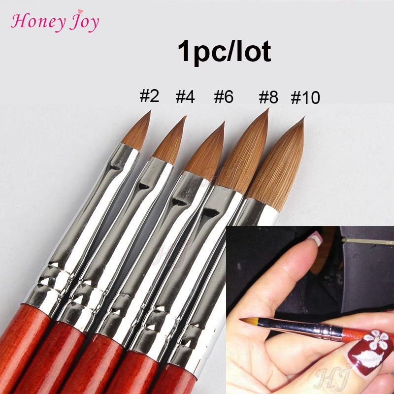 1 ST Kolinsky Sable Acryl Nail Art Brush Nr. 2/4/6/8/10/12/14/16/18 UV Gel Carving Pen Borstel Vloeibare Poeder DIY Nail Tekening