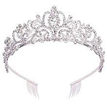 Кристальная тиара, корона, повязка, принцесса, элегантная тиара с расчески для женщин, молодых девушек, для невесты, свадьбы, выпускного, дня рождения, Silv