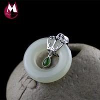 100% 925 Sterling Silver Necklaces Pendants Natural Round Jade Pendants Gemstones Trendy Wedding Women Necklace Jewelry SP25