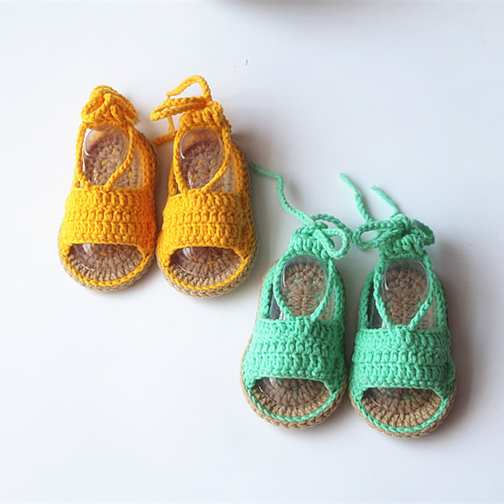QYFLYXUESimple Baby Soft Bottom Lace, Toddler Shoes, Sandals, Double Bottom, Hand-made Wool Woven Shoes.