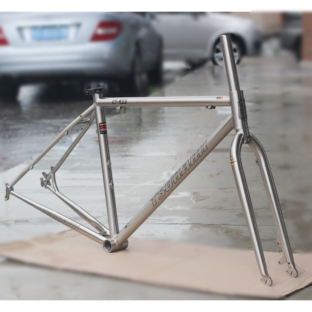 TSUNAMI Reynolds 520 Road bike Frame Fork 700C Classic Cyclocross Chrome Frameset Disc Brake CR-MO Steel Frame Forks 47cm