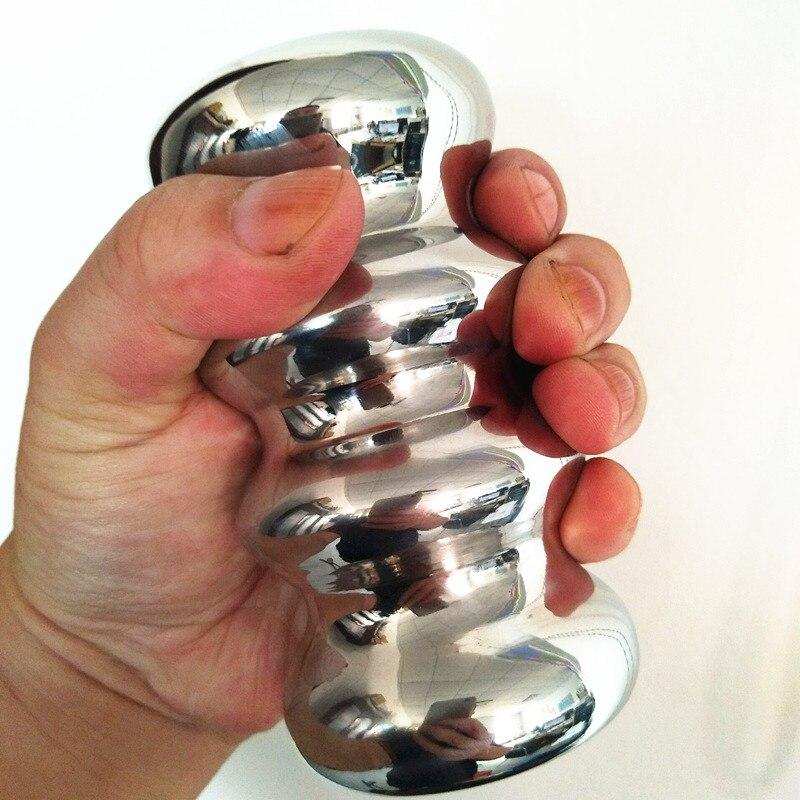 Stainless Steel Palm Force Trainer Anus Plug Penis Trainer Anus and Penis Training Device Hand Held Masturbation Toy H8-1-57 тренировочный меч из пластика hand and a half training sword cold steel