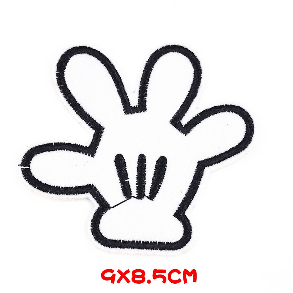 Badge Iron on or Sew On Mickey 2 Fingers Embroidered Patch