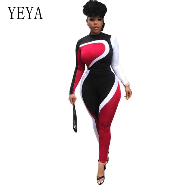 YEYA Big Size Patchwork Women Runway Jumpsuit Autumn Winter Casual Turtleneck Long Sleeve Fit Rompers High Street Sexy Overalls