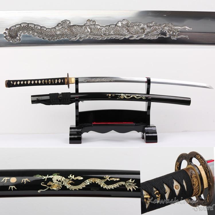 High Quality Katana Clay Temper Sanmai Lamination Hand Engraved Dragon 1095 Steel Japanese Samurai Sword  Battle Ready