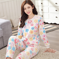 Winter women Colorful Floral Cartoon pajamas Sets Thickening High quality Flannel home clothing Long sleeved trousers nightgown