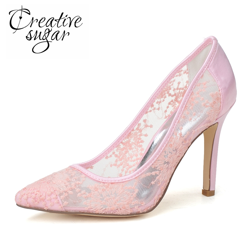 Creativesugar Sweet pointed toe see through breathable summer style pumps wedding party homecoming dress shoes pink black white creativesugar pointed toe d orsay ankle