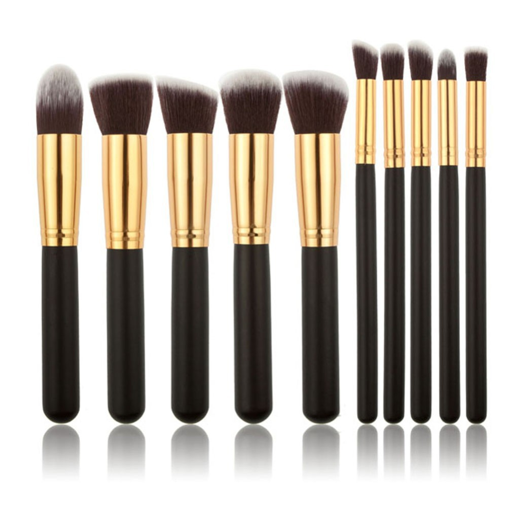 Oval Makeup Brushes 10Pcs Make up Foundation Blending Blush Eyeshadow Powder Eyebrow Cosmetics Brush Tool Kit Set ABH 6pcs mermaid makeup brushes powder eyeshadow eyebrow blush blending make up tool fishtail cosmetic brush set 10sets lot os0414