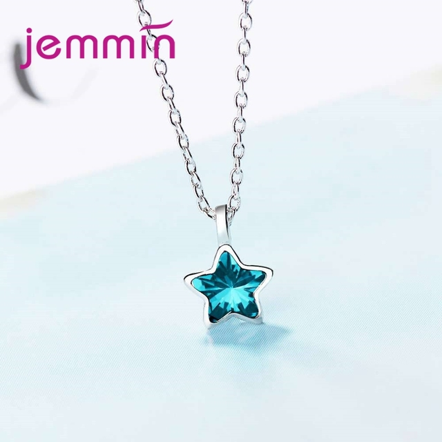 JEMMIN Charming Exquisite 925 Sterling Silver CZ Star Pendant Necklace High Quality Austrian Crystal Big Promotion Hot Sale