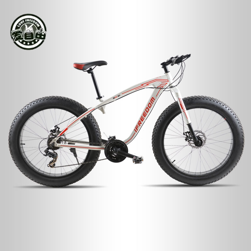 Love Freedom 2017 High Quality Bicycles 26 Inch 24 Speed Mountain Bike Aluminum Alloy Frame 4.0 Fat Bike Free Delivery Snow Bike