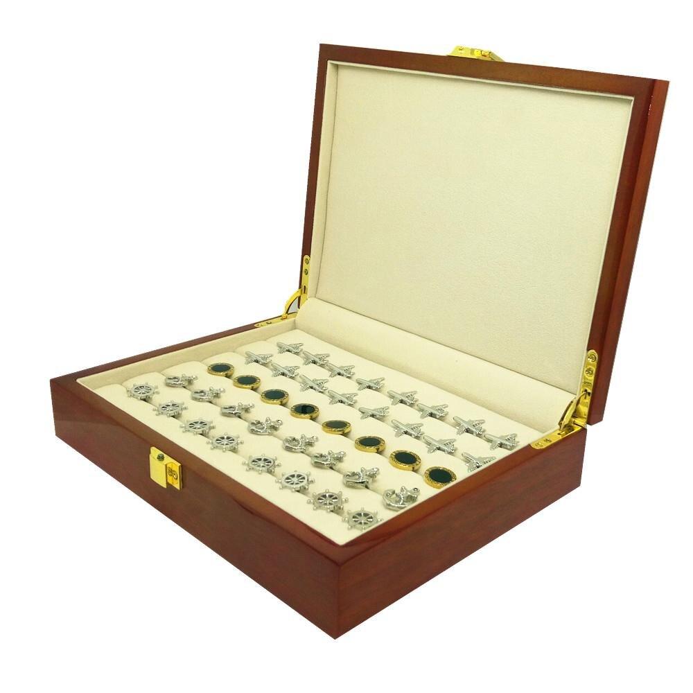 Запонки Подарочная коробка 20 пар Ёмкость кольцо Высокое качество роспись деревянной коробке Аутентичные 240*180*55 мм