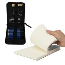 34 adet kroki kalem Pad seti profesyonel ve amatör naylon torba ile kroki seti