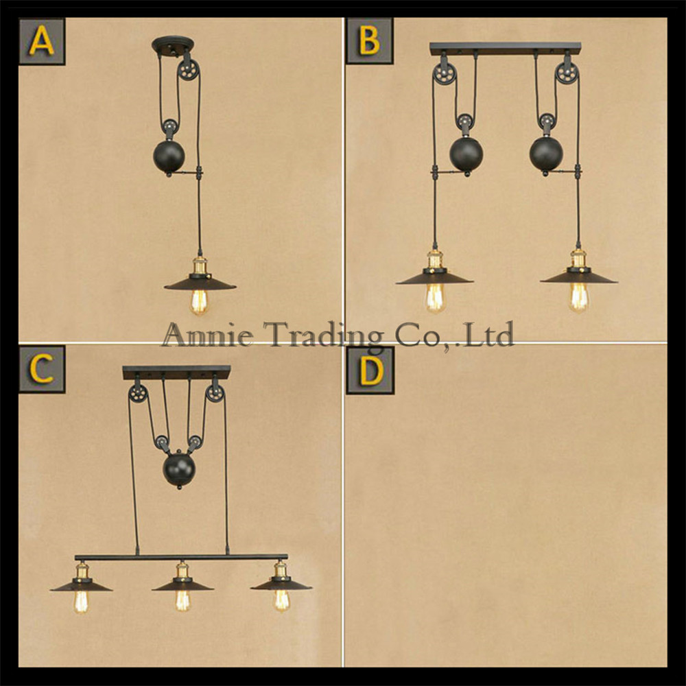 1/2/3 lights chandeliers Iron shade with pully for Edison vintage lustre lighting industrial black edison chandelier fixture led lamp creative lights fabric lampshade painting chandelier iron vintage chandeliers american style indoor lighting fixture