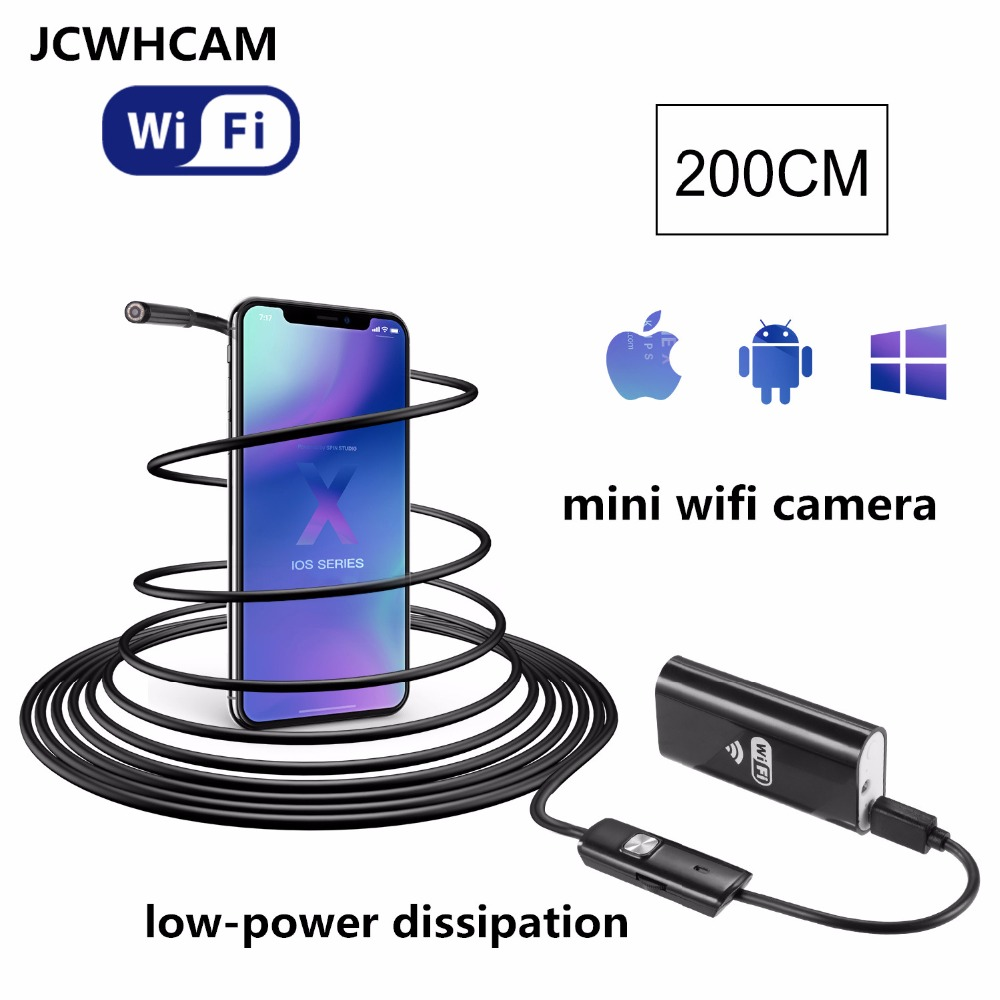 JCWHCAM Wifi Endoscope iOS Android 2m Soft cable lens 8mm HD 720P Borescope  mini ip Camera Snake Camera PCB Car Inspection trinidad wolf ios wifi endoscope 8mm lens 6 led wireless waterproof android endoscope inspection borescope camera 1m 2m 5m cable