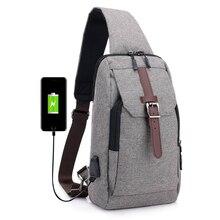 все цены на USB charge Men Chest Bag Casual Sling Shoulder Bags Men Crossbody Bags Multi-functional Waterproof Travel Fashion male bag онлайн