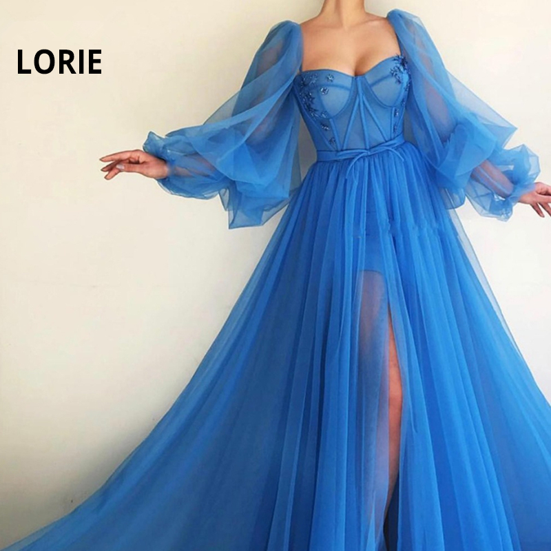LORIE 2019 Long Puffy Sleeve Blue Prom Dresses Tulle Backless Lacing Evening Gowns Evening Party Dress Robe De Soiree Plus Size