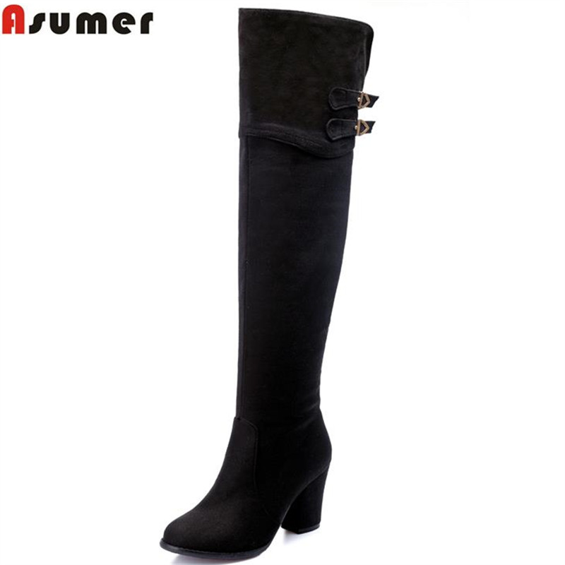 Asumer hot sale zip-up knee high boots for women buckle high square heels round toe solid nubuck flock leather elegant boots