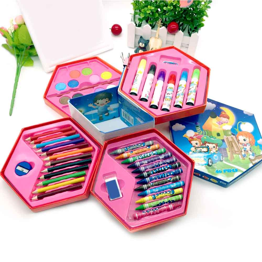 46Pcs Colors Painting Graffiti Paint Brush Set Art Toy Sets Drawing Painting Pencil Stationery Student Supplies Gift