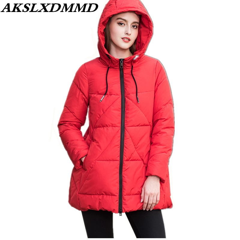 2019 New Women Winter Jacket Warm Thicken Large Size Mid-length Cotton Coat Fashion Solid Outerwear Winter Women Parkas CW113