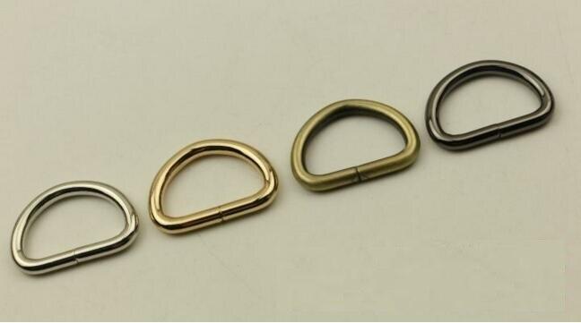 (20 PCS/lot) DIY Hand Leather Luggage Bag Inner Diameter 25mm Shoulder Strap Link To Adjust D Buckle Hook Metal Accessories.