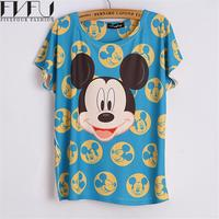 New Fashion Summer Style T Shirt Women 2016 O Neck Cute Blue Mickey Printed T Shirt