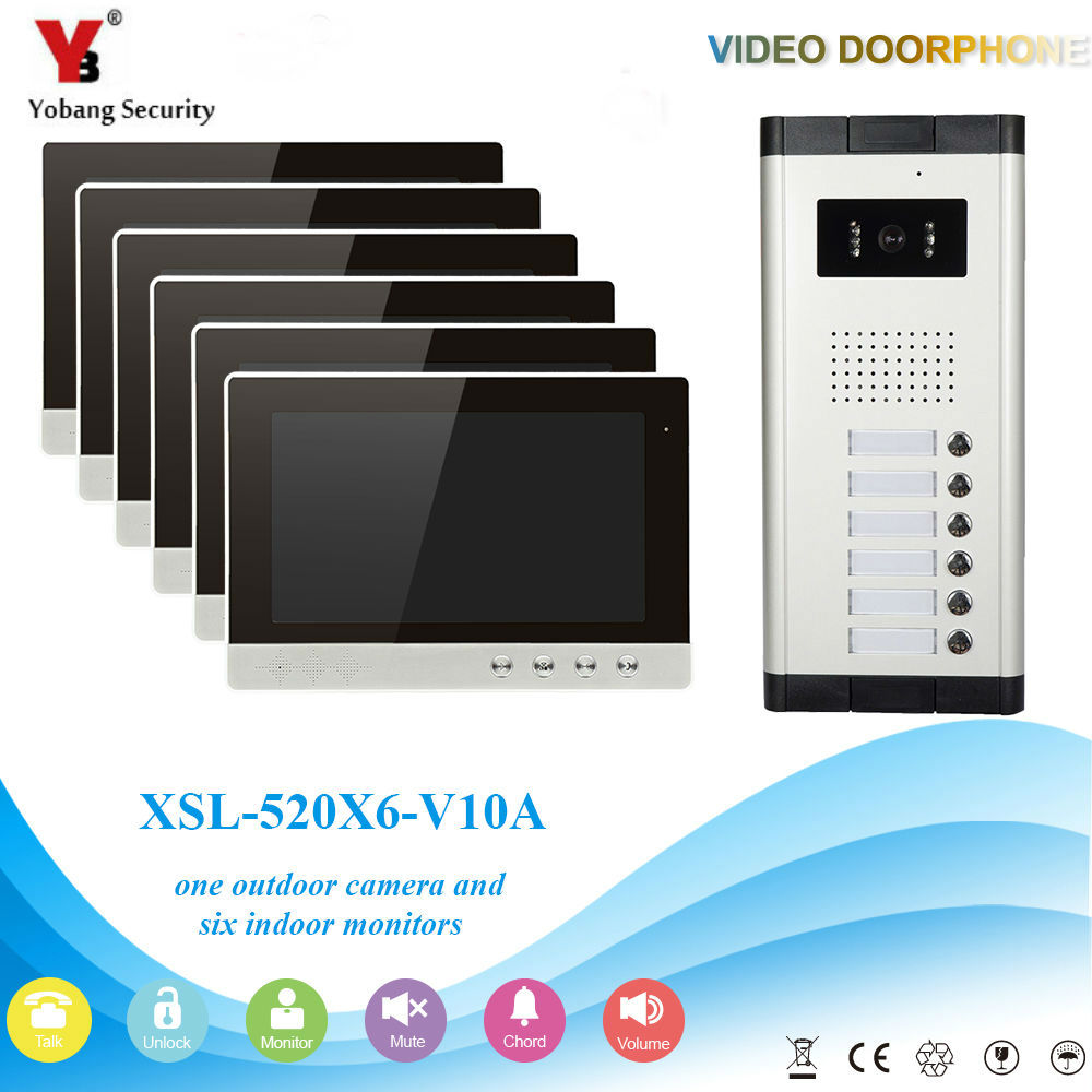 YobangSecurity Video Intercom Monitor 10-Inch Video Doorbell Camera System Intercom Entry Access System for 6 Units Apartment yobangsecurity video intercom monitor 10 inch lcd video doorbell camera system with rain cover for house office apartment hotel