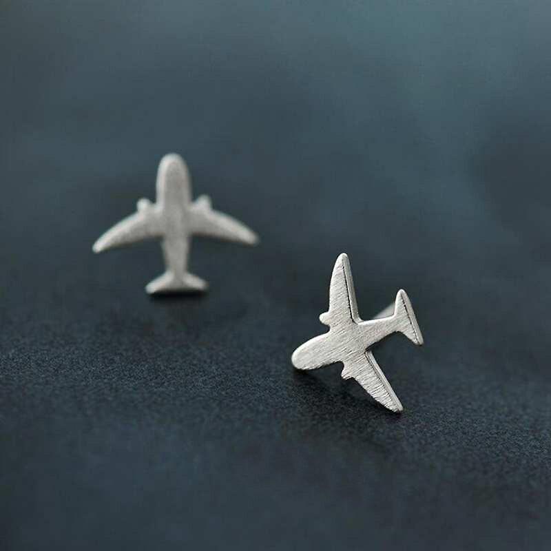 Ruifan Promotion Wholesale Airplane Shape 925 Sterling Silver Stud Earrings for Women Ladies Small Fine Jewelry YEA121