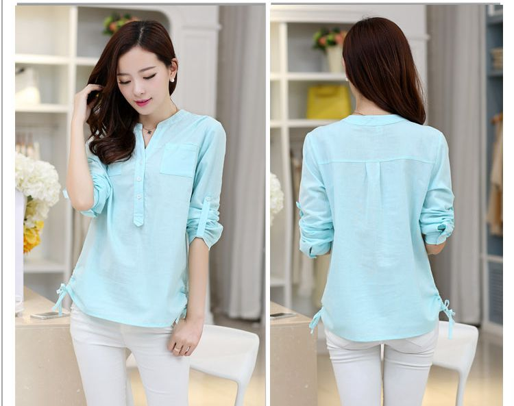 659d015edb0d3 2015 Autumn Women White Mint Green V neck Cotton Long Sleeve Shirt Tops  Students Korean Linen Blouses Plus Size S 2XL-in Blouses   Shirts from  Women s ...